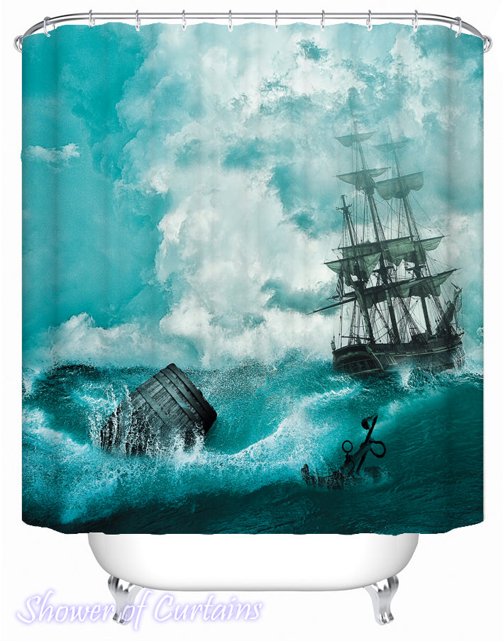 Shower curtain of Abandon Ship scene