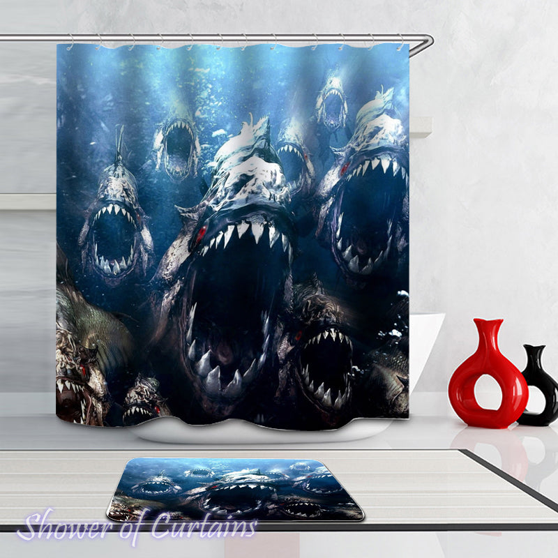Shower curtain of Flesh Eating Piranhas