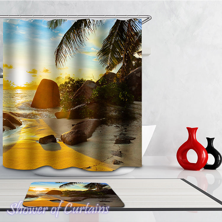 Shower curtain of Beach View of Ocean Sunset