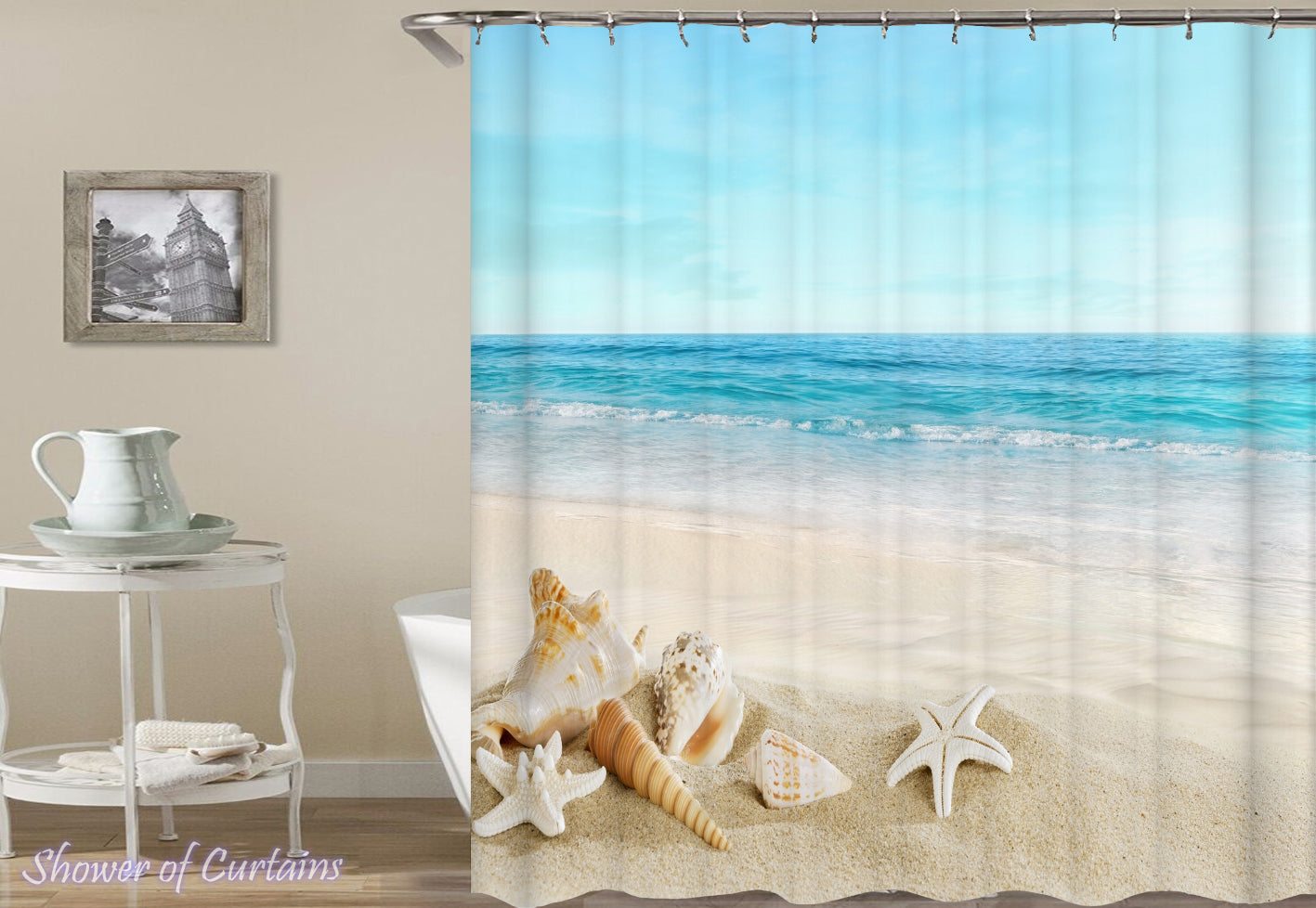 Shower Curtain Of Seashells With A Beach View