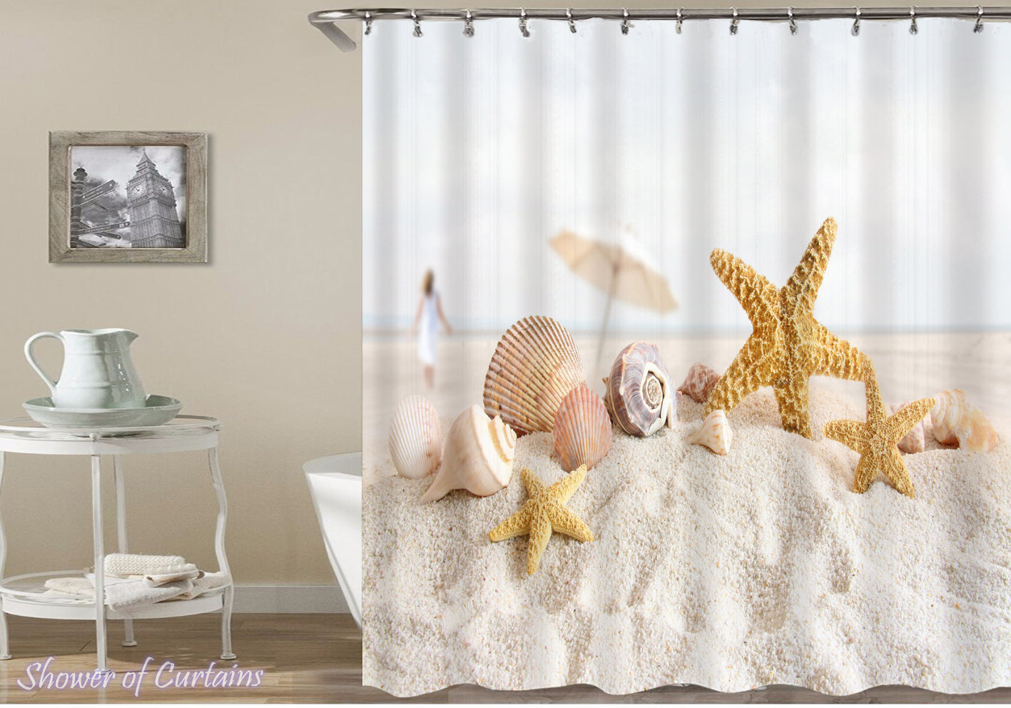 Shower Curtain Of Starfish And Shells On The Beach Sand