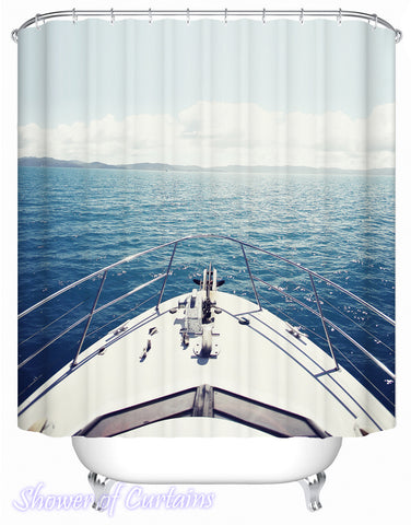 Shower curtain theme of - Sail Your Yacht Toward The Horizon