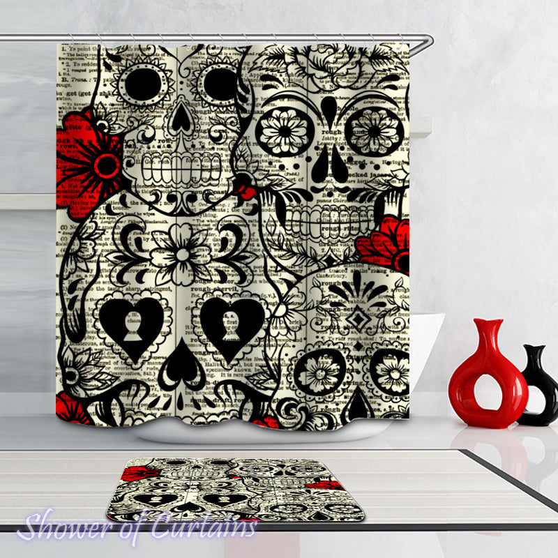 Shower curtains print - Skulls And Flowers