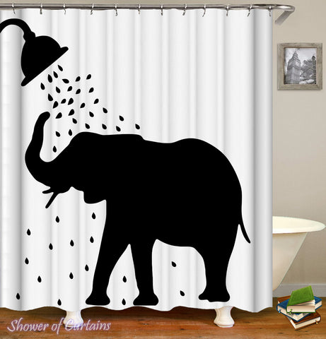 Showering Elephant Shower Curtain