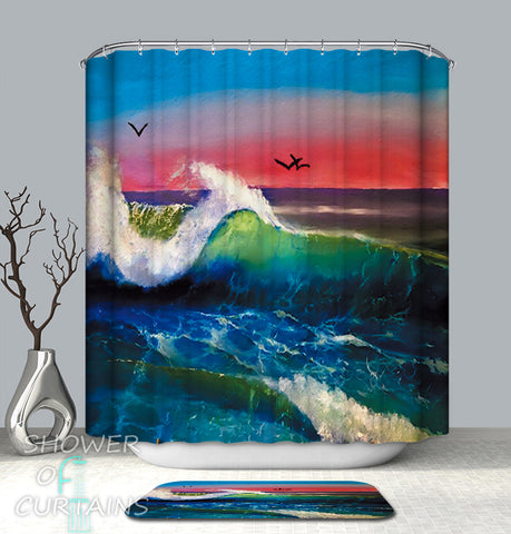 Showr Curtains of Ocean's Colorful Horizon
