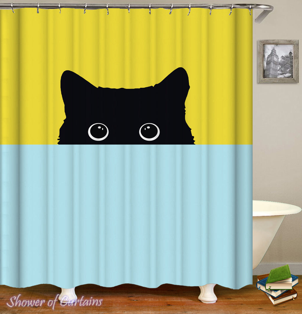 Shy Cat Shower Curtain