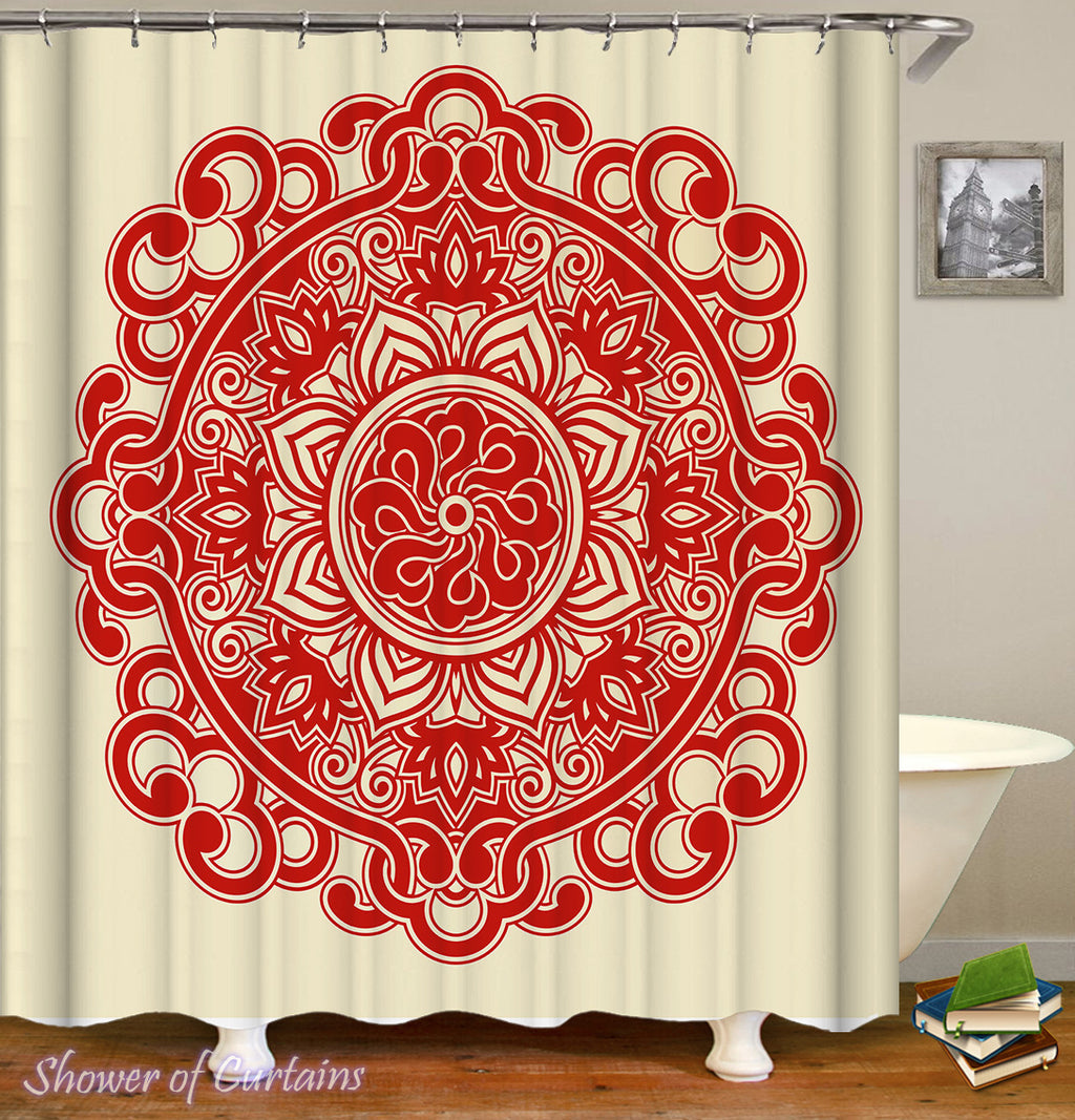 Simple Red Mandala Shower Curtain - Oriental Bathroom Decor