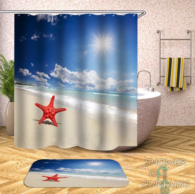 Single Starfish On The Beach Themed Shower Curtains