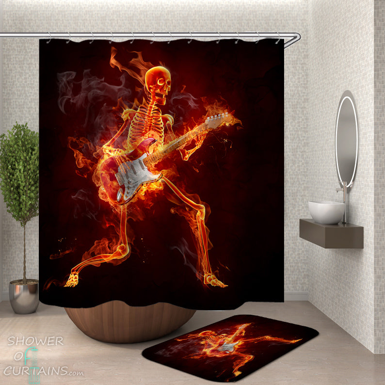 Skeleton Shower Curtain of Jamming In Flames Skeleton