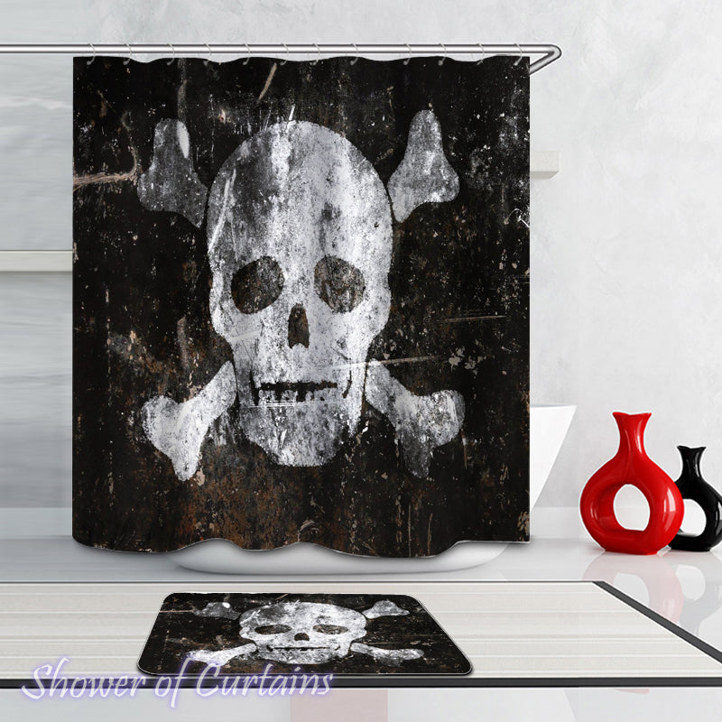 Skull And Bones - skull shower curtain theme