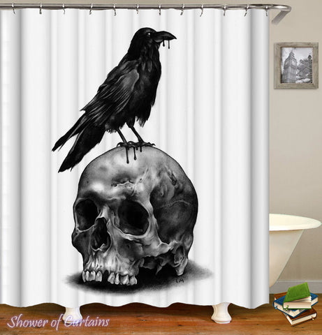Skull And Raven Shower Curtain Theme