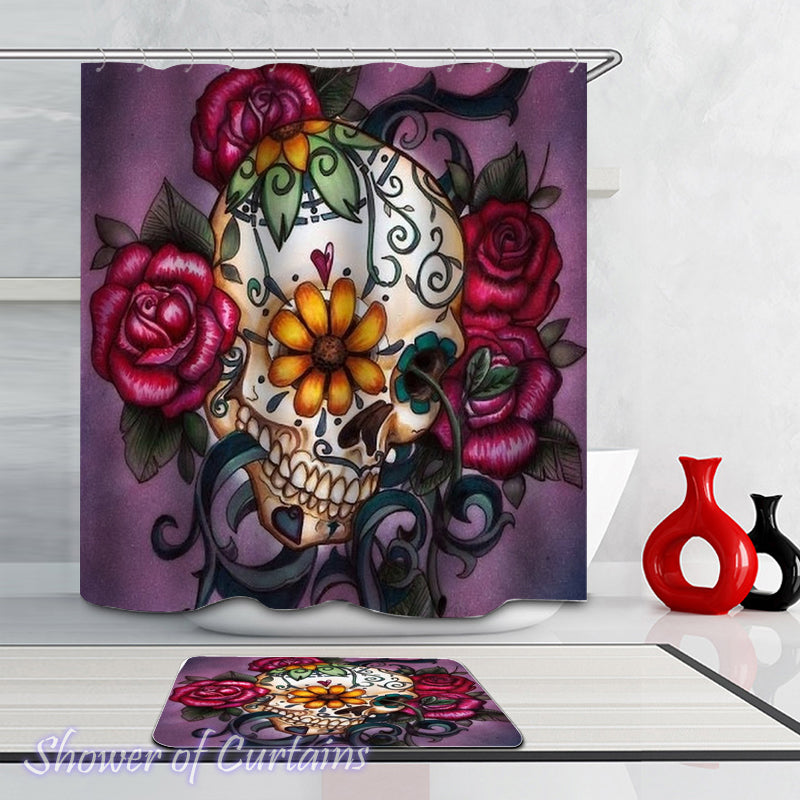 Skull And Roses shower curtain theme