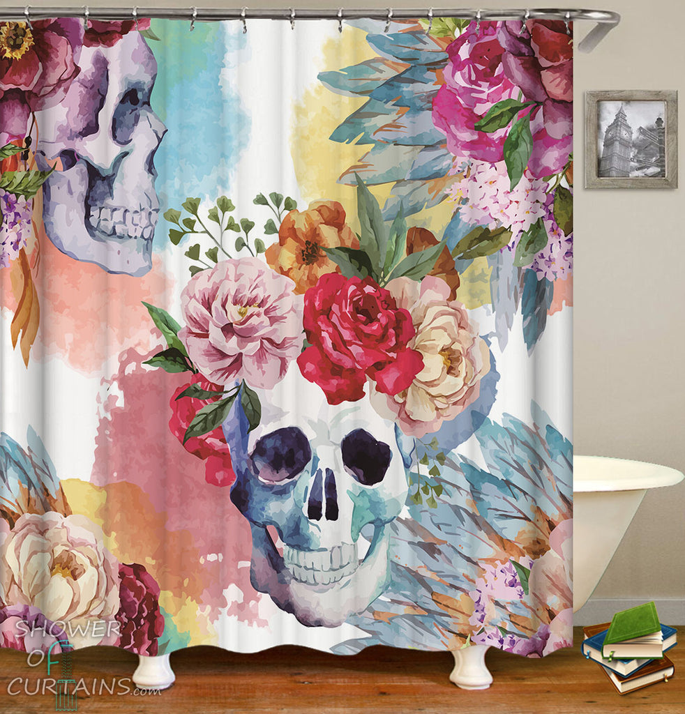 Skull Shower Curtain Collection Shower Of Curtains