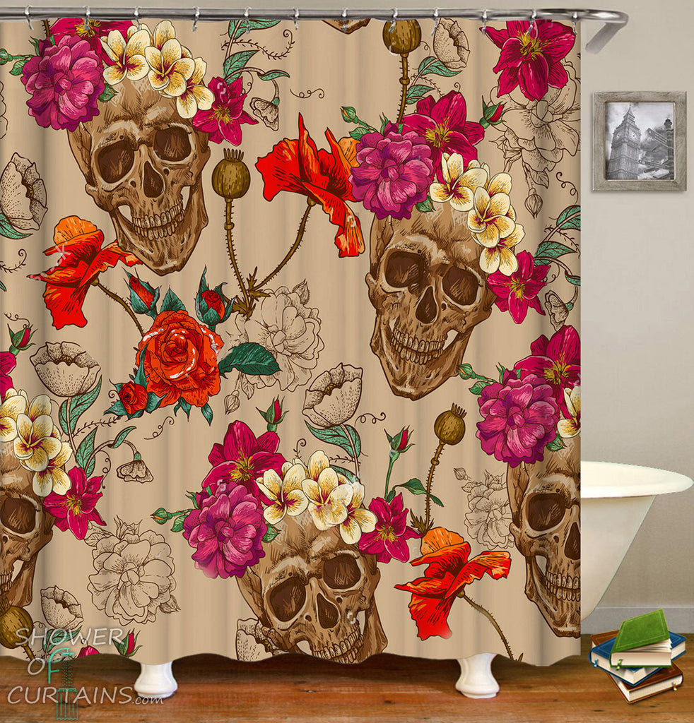Skull Bathroom Decor of Fresh Flowers Fit Skulls Painting Shower Curtain