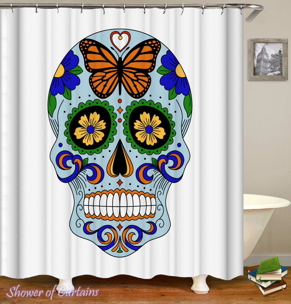 Skull Bathroom Decor of Fresh Light Blue Sugar Skull Shower Curtain