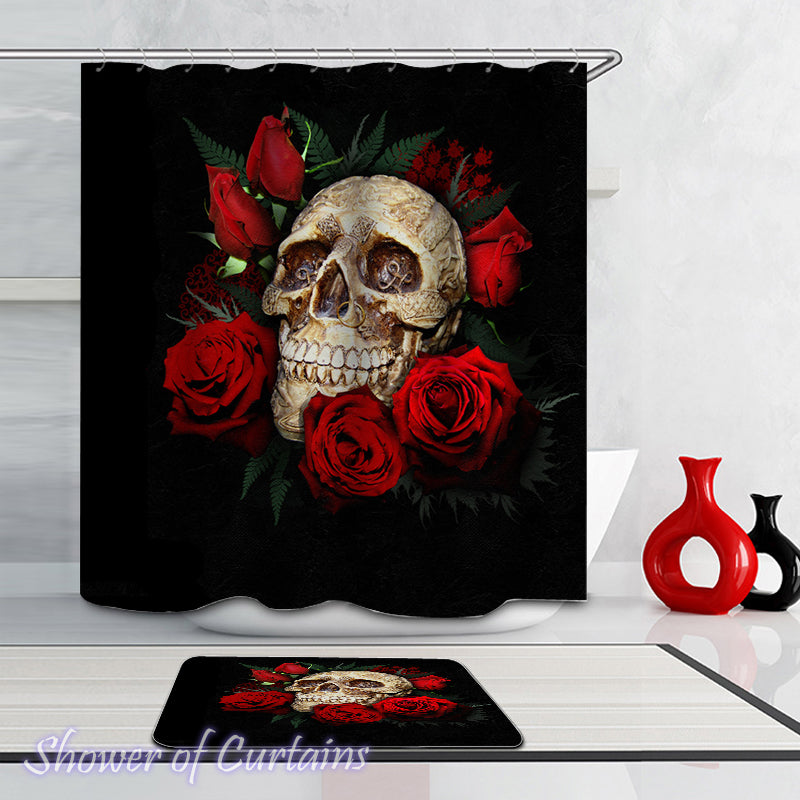 Skull Shower Curtain - Decorated Skull And Roses
