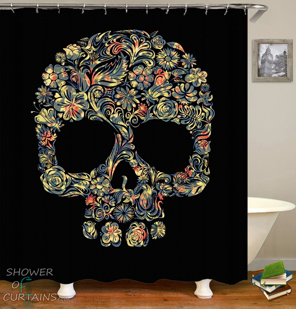 Skull Shower Curtain And Bath Mat - Floral Pattern Skull