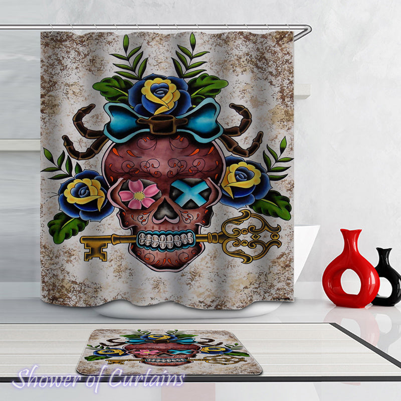 Skull Shower Curtain of Key Holder Skull