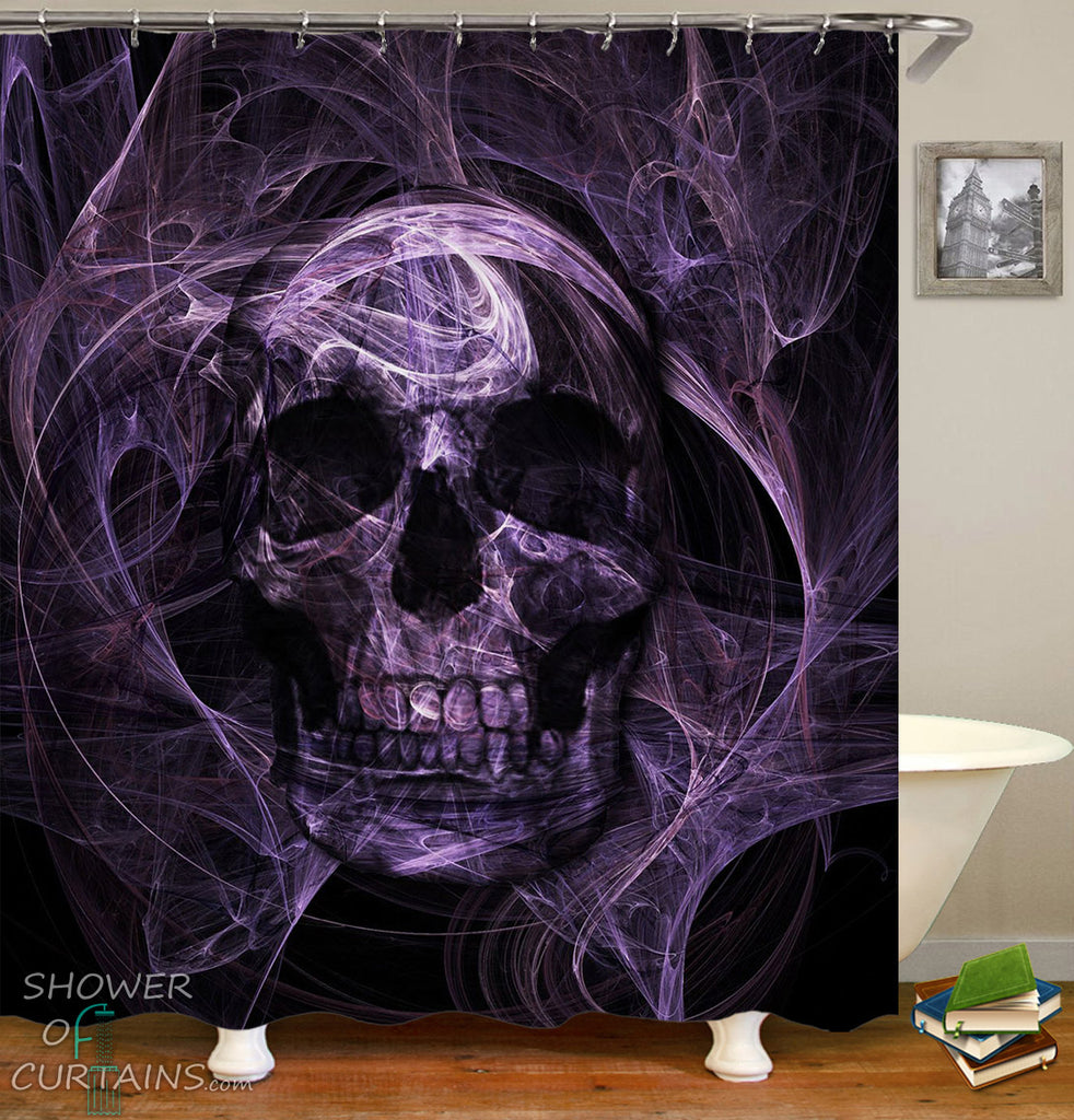 Skull Shower Curtain of Purplish Demon Skull