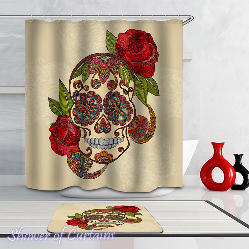 Skull Shower Curtain of Stained Glass Skull And Roses