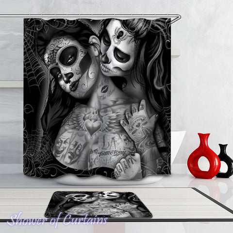 Skull shower curtain - Skull Face Ladies
