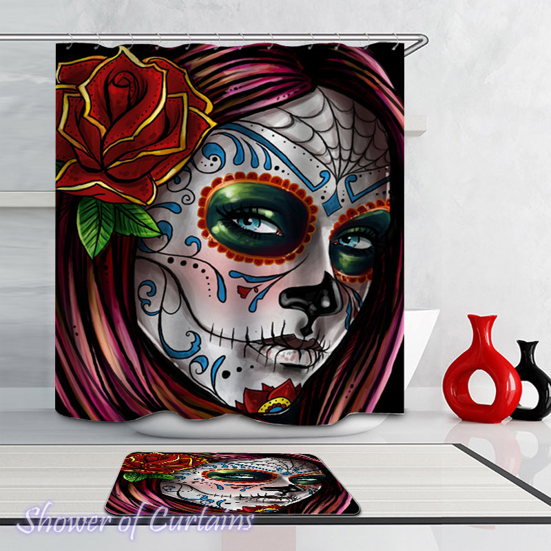 Skull showr curtain - Gorgeous Skull Face Lady
