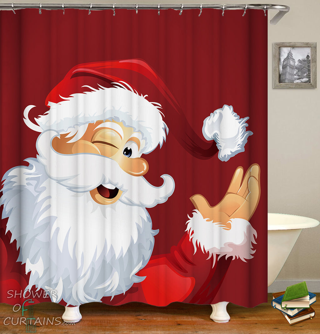 Smiling Santa Shower Curtain