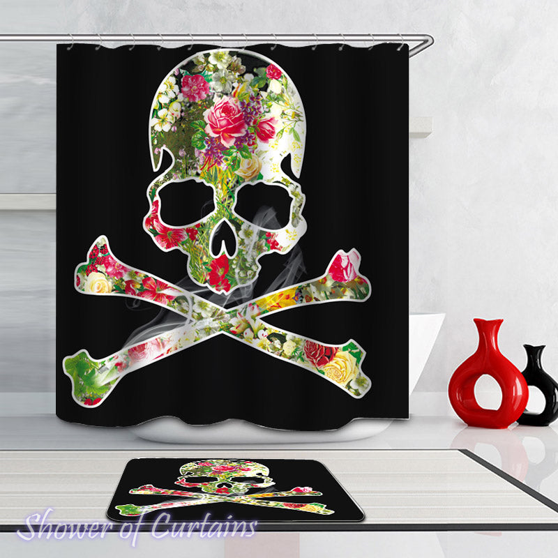 Smokin' Skull And Bones Shower Curtain