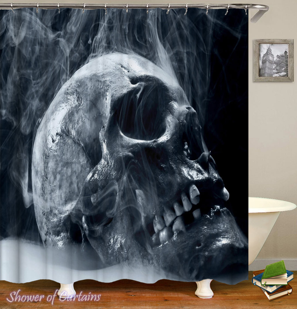 Smoky Human Skull Shower Curtain