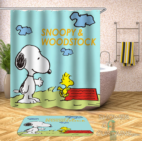 Snoopy And Woodstock Shower Curtain