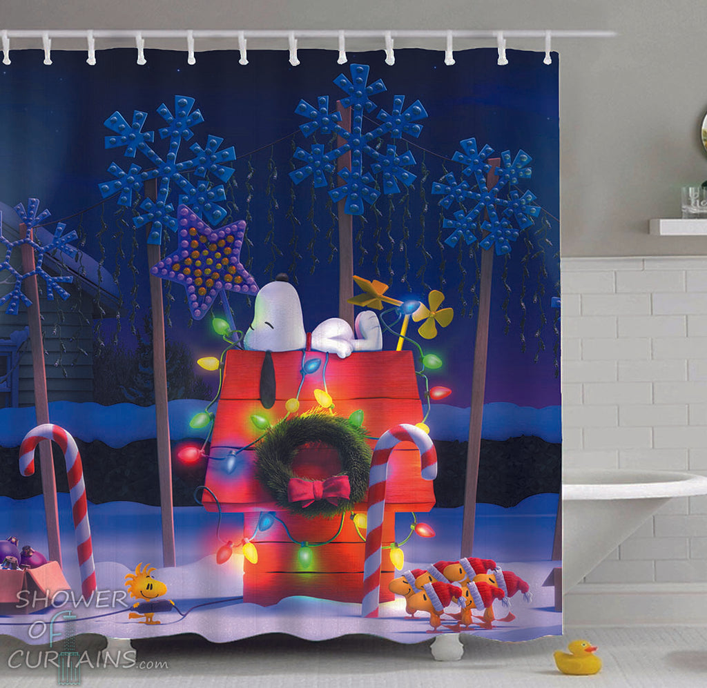 Snoopy Shower Curtain Christmas - Shower Curtains And Bath Mats