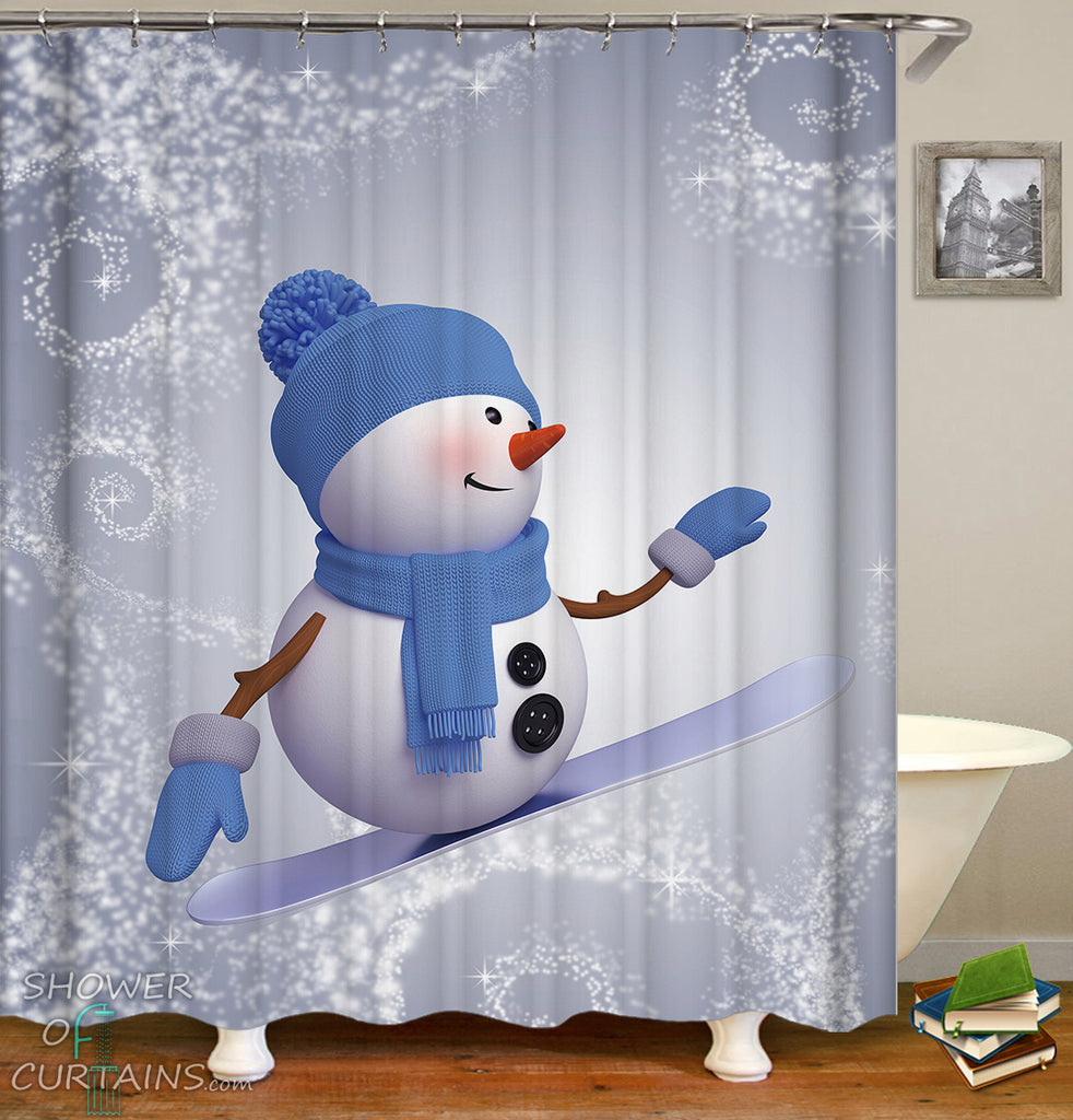 Snowboarding Snowman Shower Curtain