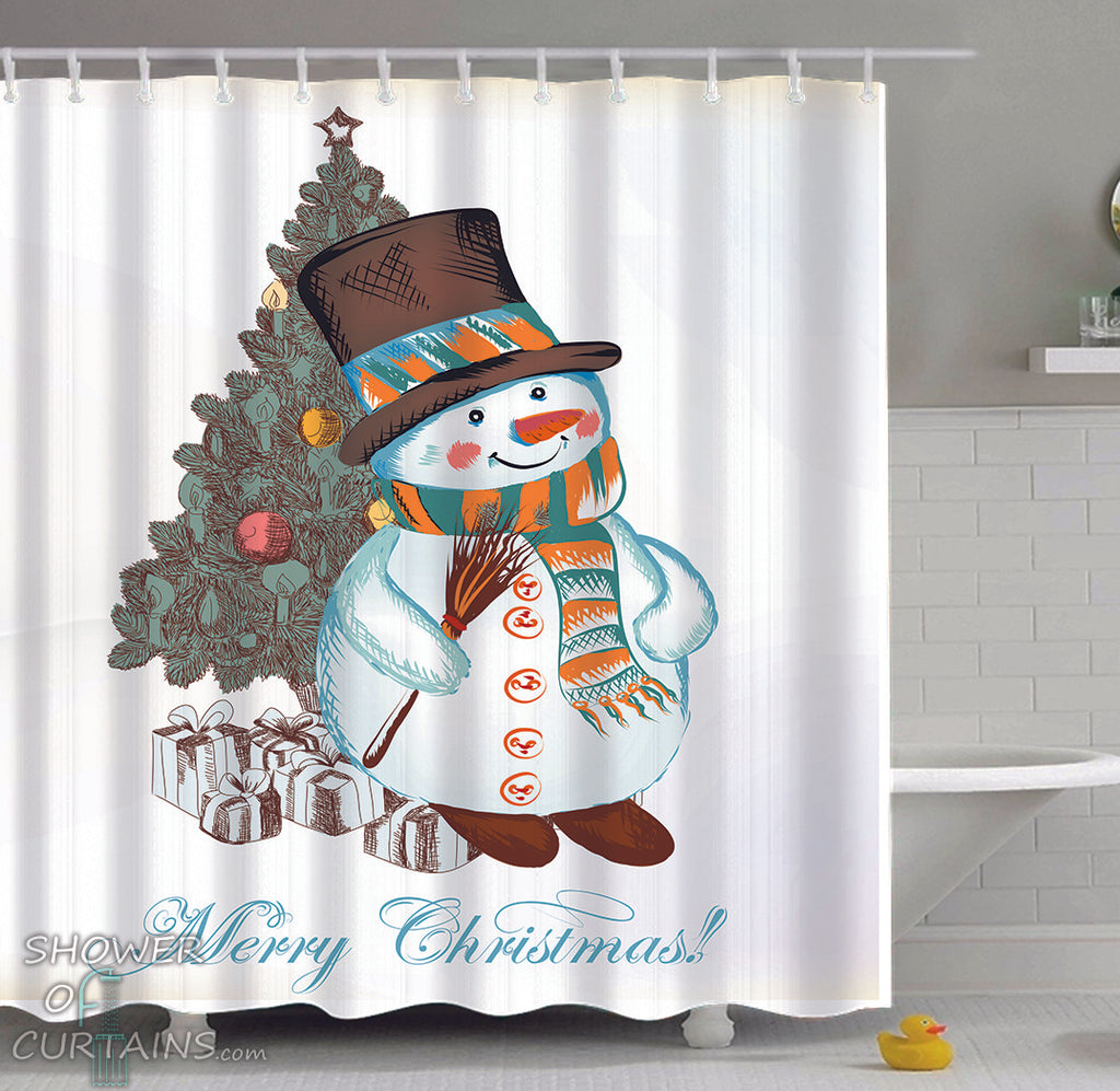 Snowman Shower Curtain - Merry Christmas Drawing