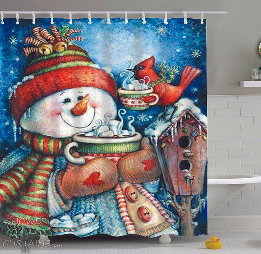 Snowman Shower Curtain of Vintage Snowman Painting