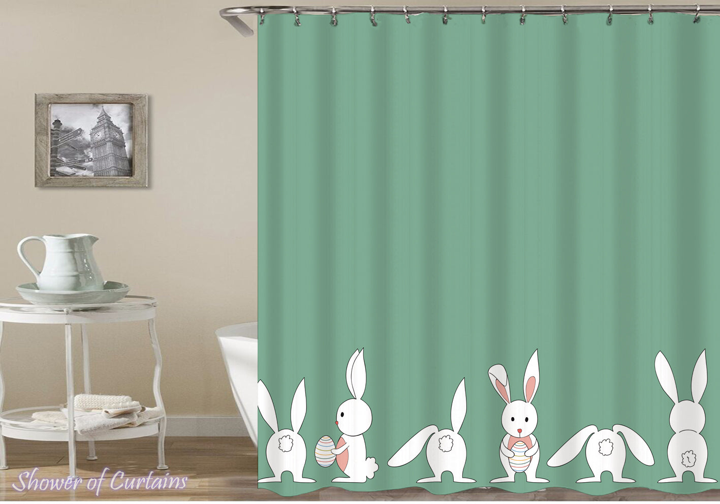 Shower Curtains | Solid Green Behind Cute Little Bunnies – Shower of ...