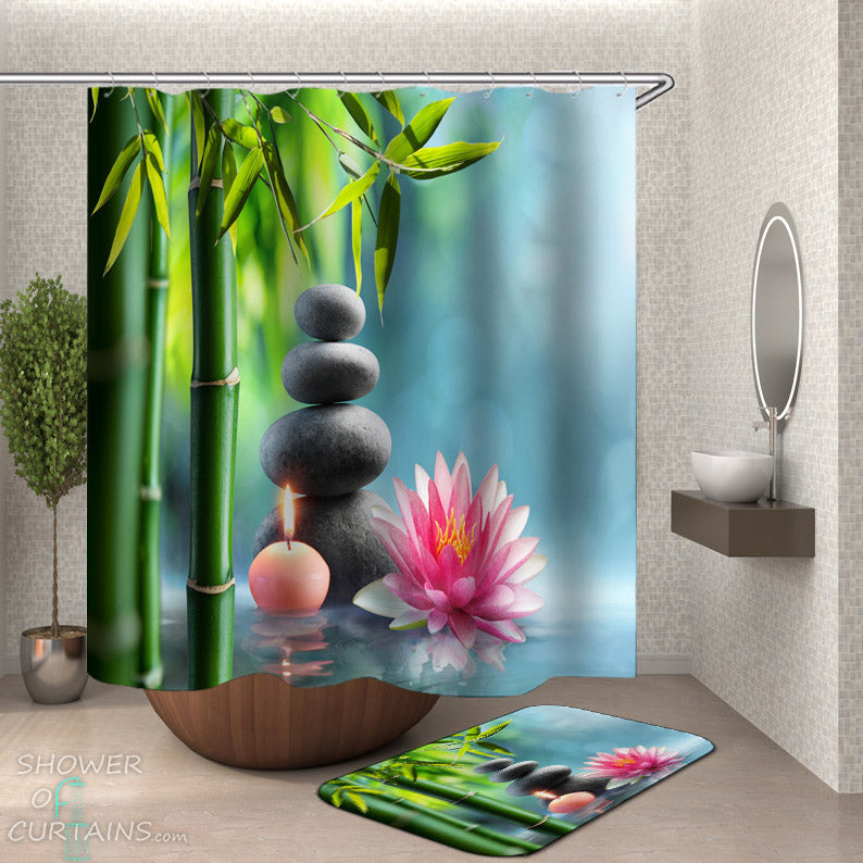 Spa Bathroom Decor - Waterlily Spa Shower Curtain