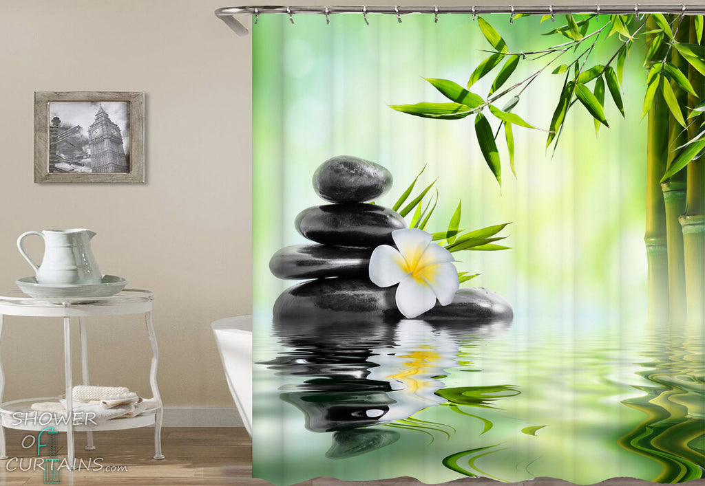 Spa Bathroom Decor of Plumeria And Bamboo Spa Shower Curtain