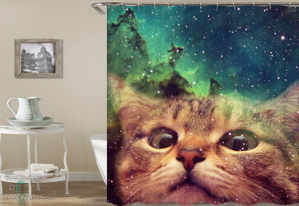Space Cat Shower Curtain - Funny Shower Curtains