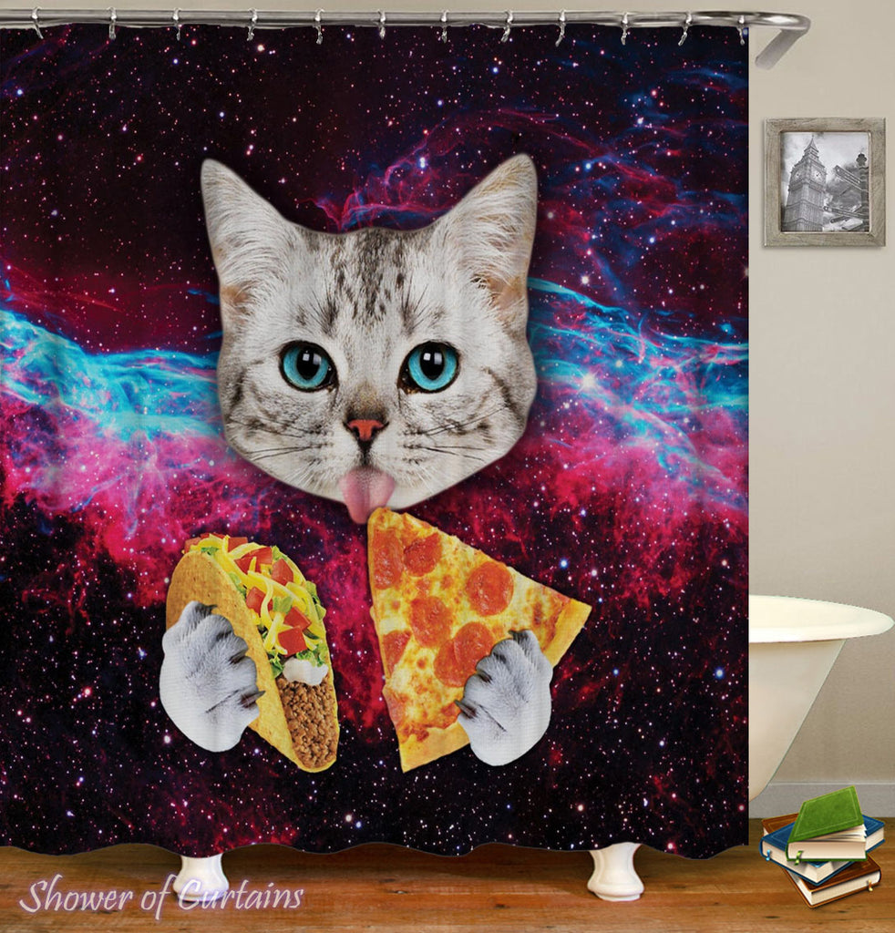Space Cat Shower Curtain of Cat Licks Pizza And Taco