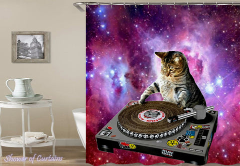 Space DJ Cat Shower Curtain - Funny Collection