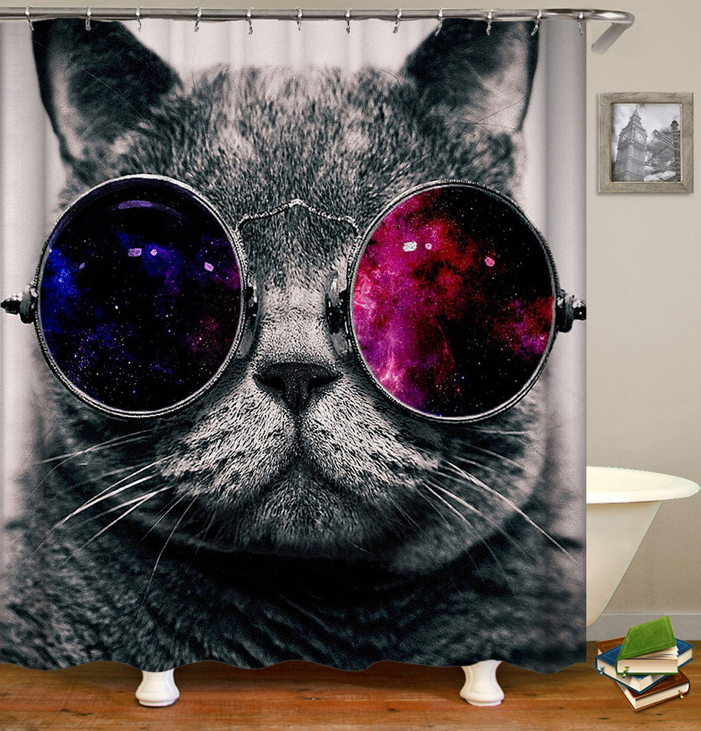 Space Glasses Cat shower curtain