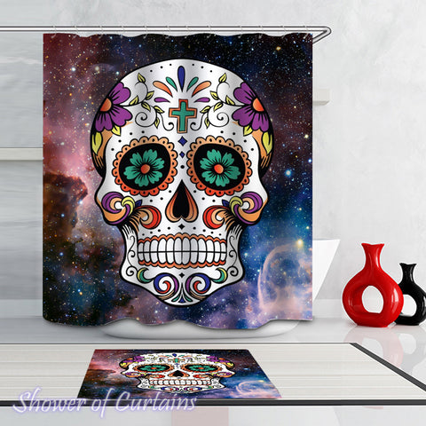 Space Skull Shower Curtain