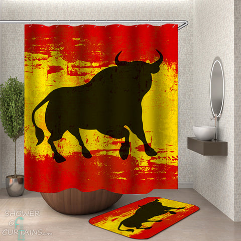 Spanish Bull Shower Curtain
