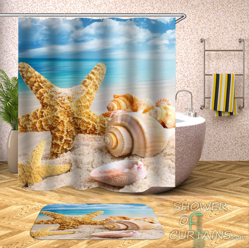 Starfish And Seashell Shower Curtain