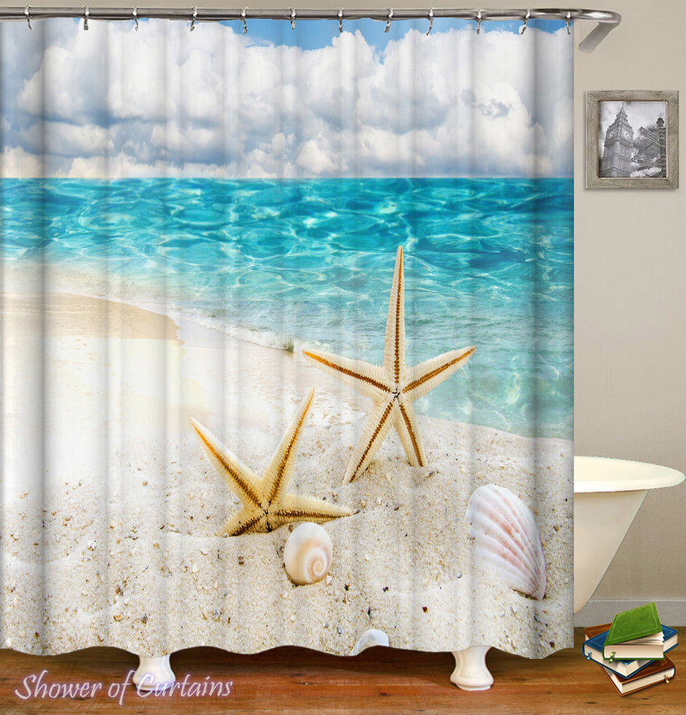 Starfish Shower Curtain - Two Starfish On The Beach Shower Curtain