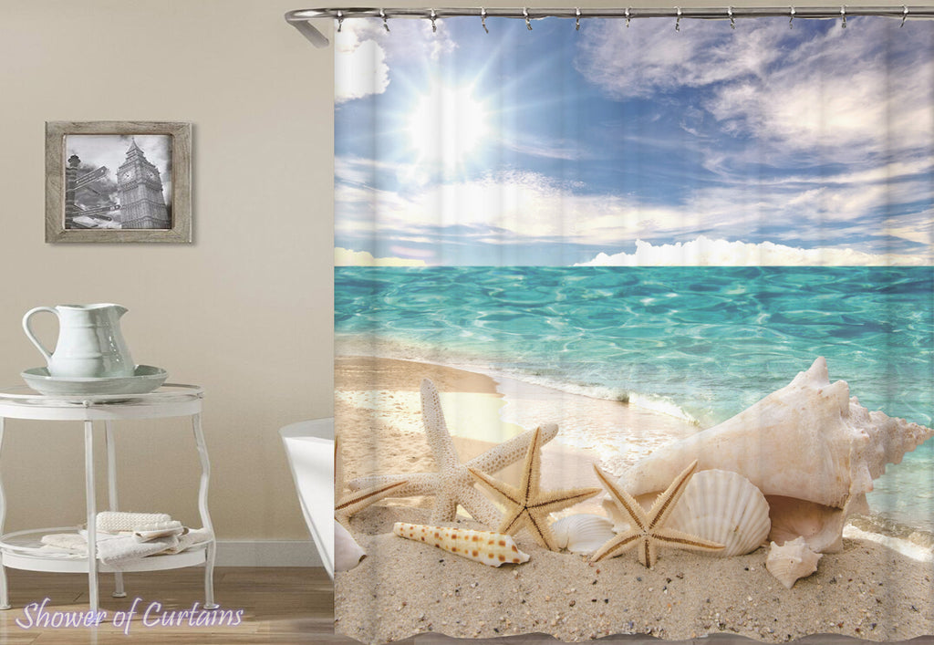 Starfish and Shells Ocean View - beach shower curtain