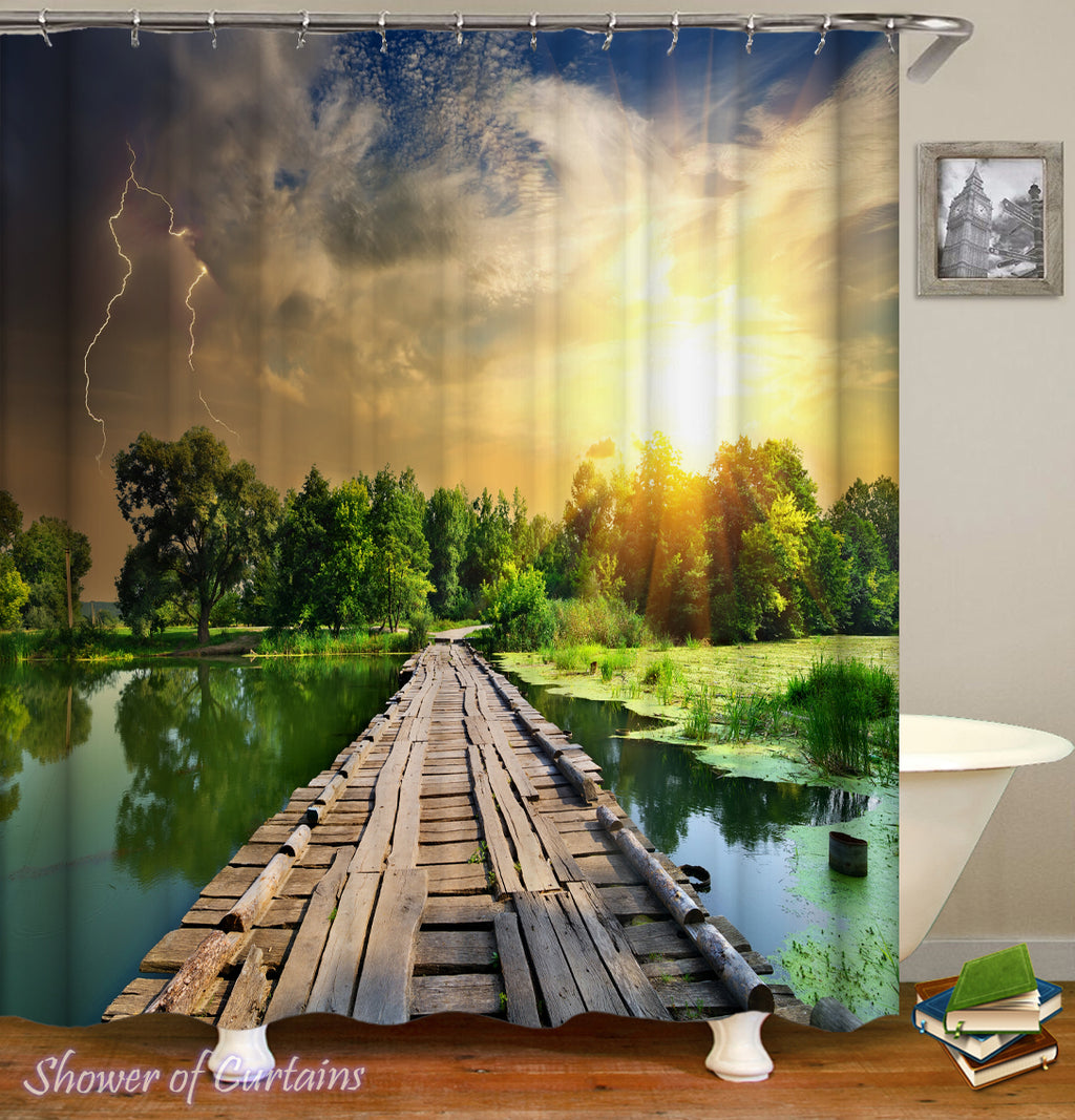 Stormy Sunset Over The Lake Shower Curtain design