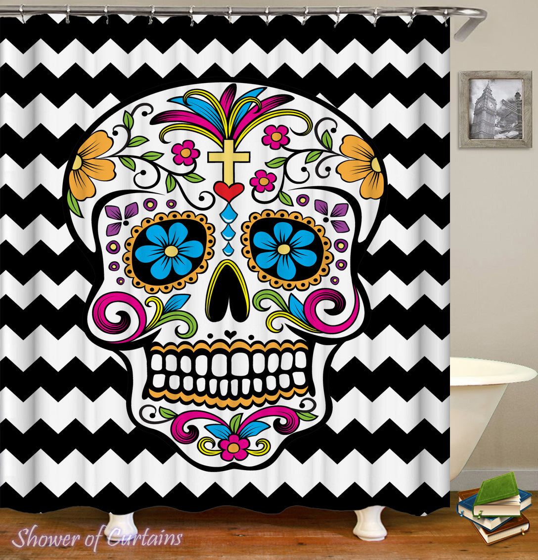 Sugar Skull Shower Curtain Design