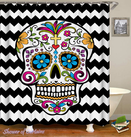 Sugar Skull Shower Curtain Design - Sugar Skull Black & White Chevron