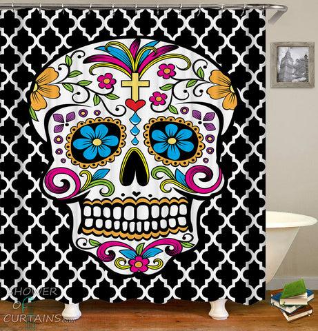 Sugar Skull Shower Curtain Print Over Moroccan shape pattern